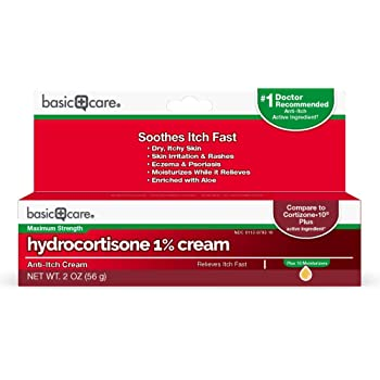 Amazon Basic Care Hydrocortisone 1% Anti-Itch Cream, Plus 10 Moisturizers; Ultra-moisturizing, Maximum Strength Itch Relief, 2 Ounces