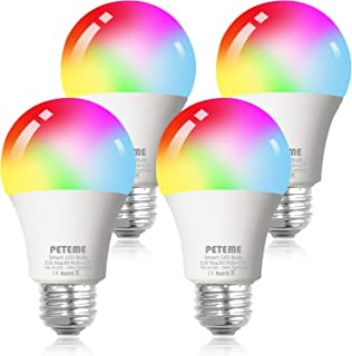 لامپ نور LED لامپ هوشمند Potem Smart LED E26 فای Multicolor لامپ کار با الکسا، اکو، صفحه اصلی گوگل و IFTTT (بدون هاب مورد نیاز)، A19 60W معادل RGB تغییر رنگ لامپ (4 بسته)