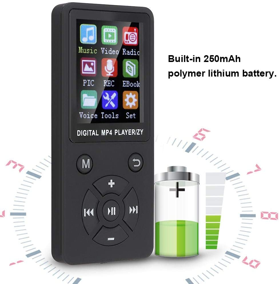 Support 32G Memory Card Music Player MP3 Player Eight-Diagram Tactics Buttons Muti-Fuctional for Music Lovers, Black