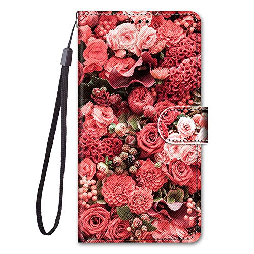 i-Case per ASUS Zenfone Max PRO M1 ZB601KL Book-Style Flip Caso Pelle Premium Portafoglio Custodia Portafogli Frontali Fermasoldi Magic Wallet Protezione con Coin Pocket Stand Function,Fiori Rossi