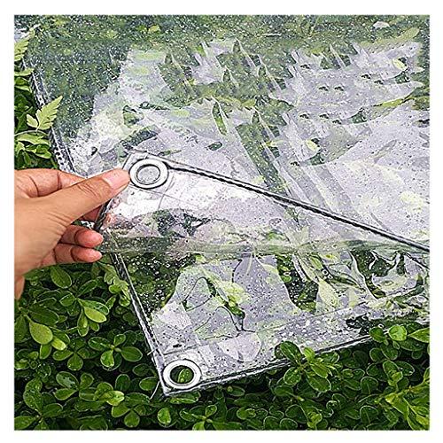 WYQQ Abdeckplane wasserdicht Klare Plane mit Ösen und verstärkten Kanten/Kunststoffplanen Hochleistungs-Plane, 11,8 Mil dick, wasserdicht, faul, reißfest und reißfest (Farbe : Klar, Größe : 2m×4m)