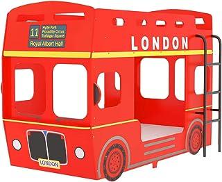 vidaXL Lit Superposé Bus de Londres Structure de Lit Enfants Garçons Filles Chambre à Coucher Maison Intérieur Rouge MDF 9...