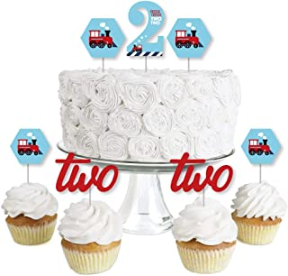 2nd Birthday Railroad Party Crossing - Dessert Cupcake Toppers - Steam Train Second Birthday Party Clear Treat Picks - Set of 24