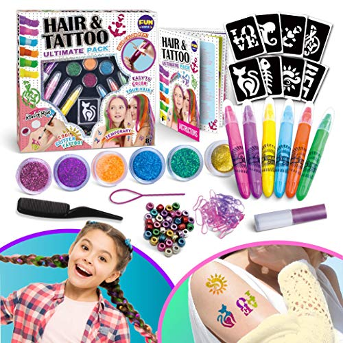 Temporary Glitter Tattoo And Hair Color Combo Kit for Girls, Funkidz 6 Color Hair Chalk Pens and Glitter Tattoo Sets Hair Beads Braid Tools Kit Nice Gift for Girls Ages 8 And Up Washable Make Up Kit for Kids Party
