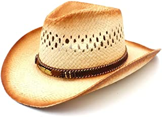 JAUROUXIYUJI New Women Men Western Cowboy Hat with Punk Leaves Band Handemade Weave Straw Beach Sun Mesh Cowgirl Sombrero (Color : Natural, Size : 58cm)