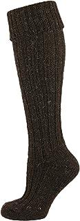 Calcetines de lana de oveja irlandesa Jacob de alta rodilla marron oscuro