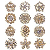 TOOKY 12pcs cristallo spilla spille Fiore Mix Set Collare fai da te corpetto pin Bouquet Decor lotto all'ingrosso per la sposa Oro