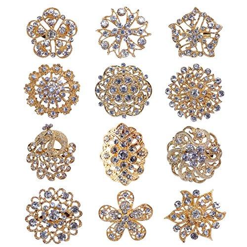 keland 12 stücke Mix Set Kristall Broschen Blume Brosche Kragen Pin Corsage Bouquet Decor Großhandel Lot DIY für Hochzeit (Gold)