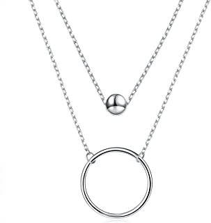 925 Sterling Silver Bead Circle Layered Double Chain Necklace for Women Girls Birthday Gift