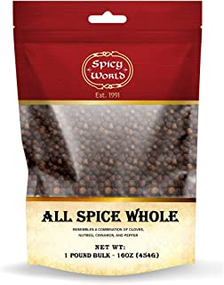 Whole Allspice Berries - 1 Pound Bag Bulk in Resealable Bag   by Spicy World (All Spice)