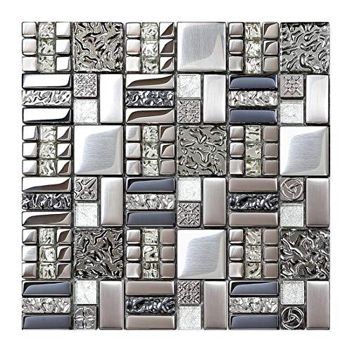 Metallic Glass Mosaic Tiles Silver Gray 100% Glass Tile Water Resistant for Kitchen Backsplash Bathroom Shower Accent Wall Decor TSTGT151 (5 Square Feet)