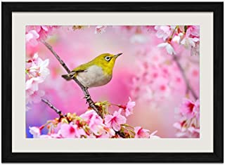 Bird Cherry Spirit - Art Print Wall Black Wood Grain Framed Picture(24x16inches)
