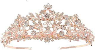 SNOWH Gorgeous Tiaras and Crowns for Women, Rose Gold Wedding Tiara for Bride, Birthday Princess Crown Bridal Headpieces Costume Party Hair Accessories