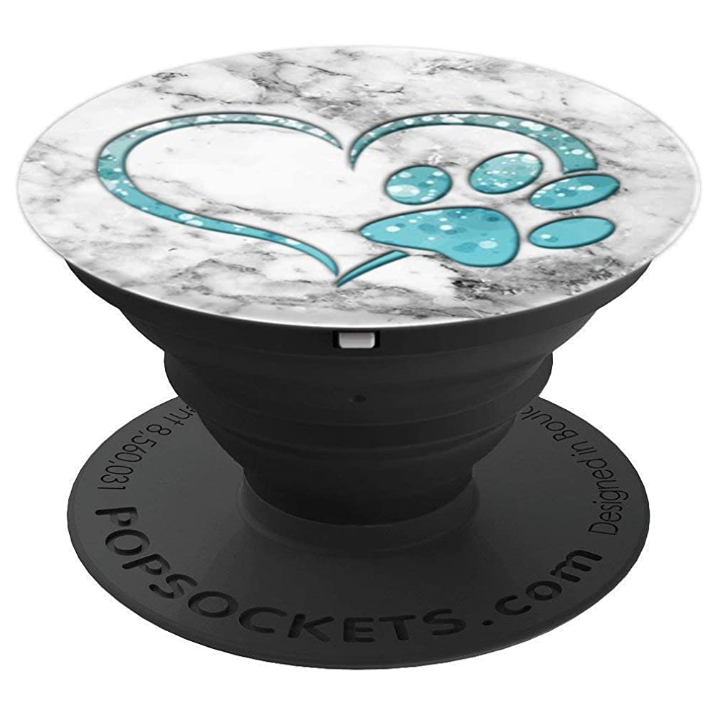 Silver Blue Dog Paw Print Heart Pop Socket white Marble - PopSockets Grip and Stand for Phones and Tablets