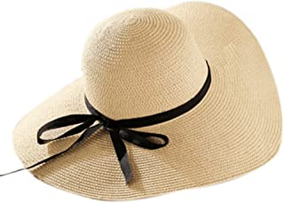 LOVEHATS Round Top Raffia Wide Brim Straw Hats Summer Sun Hats For Women With Leisure Beach Hats Flat Gorras