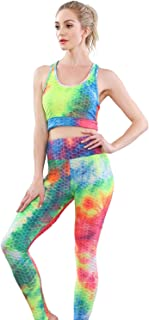Womens Tie Dye 2 Piece Sets Workout Outfits - High Waist Yoga Pants and Sports Bra Activewear for Yoga Gym Fitness