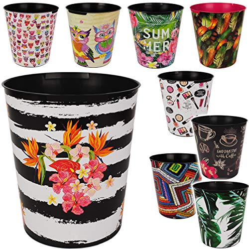 4 Stück _ Papierkörbe / Behälter - Motiv-Mix - Blumen - Blüten & Tiere - 10 Liter - wasserdicht - aus Kunststoff - Ø 28 cm - großer Mülleimer / Eimer - Abfall..