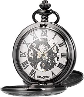 Mechanical Roman Numerals Dial Skeleton Pocket Watches with Gift Box and Chains for Mens Women