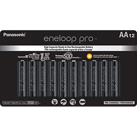 Panasonic BK-3HCCA12FA eneloop Pro AA High Capacity Ni-MH Pre-Charged Rechargeable Batteries, 12 Pack