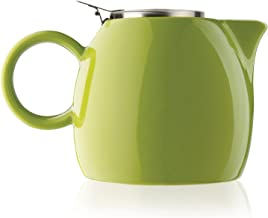 Tea Forte PUGG 24oz Ceramic Teapot with Improved Stainless Tea Infuser, Loose Leaf Tea Steeping For Two, Pistachio Green