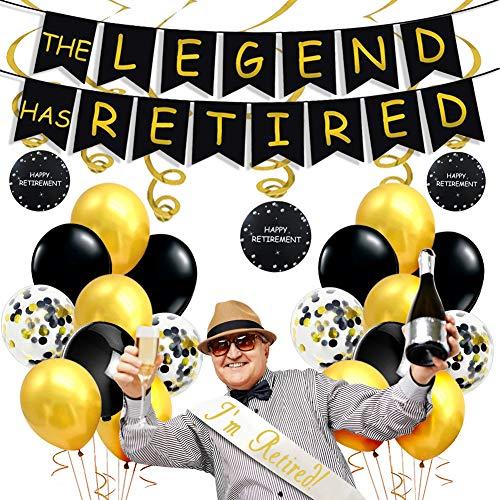 Decoraciones para fiestas jubilación en negro y dorado, The Legend ha retirado pancarta, decoraciones colgantes en forma de remolino, estoy retirado Satin Sash Suministros de jubilación para hombres