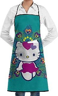 Pag Crane Delantal con Bolsillos - Delantal de Cocina Hello Kitty Peacock para Hombre Mujer