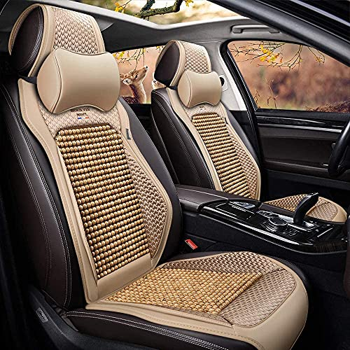LCZB Summer Car Wooden Bead Cushion, Car Seat Protector, Good Air Permeability, Adjustable And Detachable Leather Wooden Bead, Suitable for 5-Seater Car Material,D