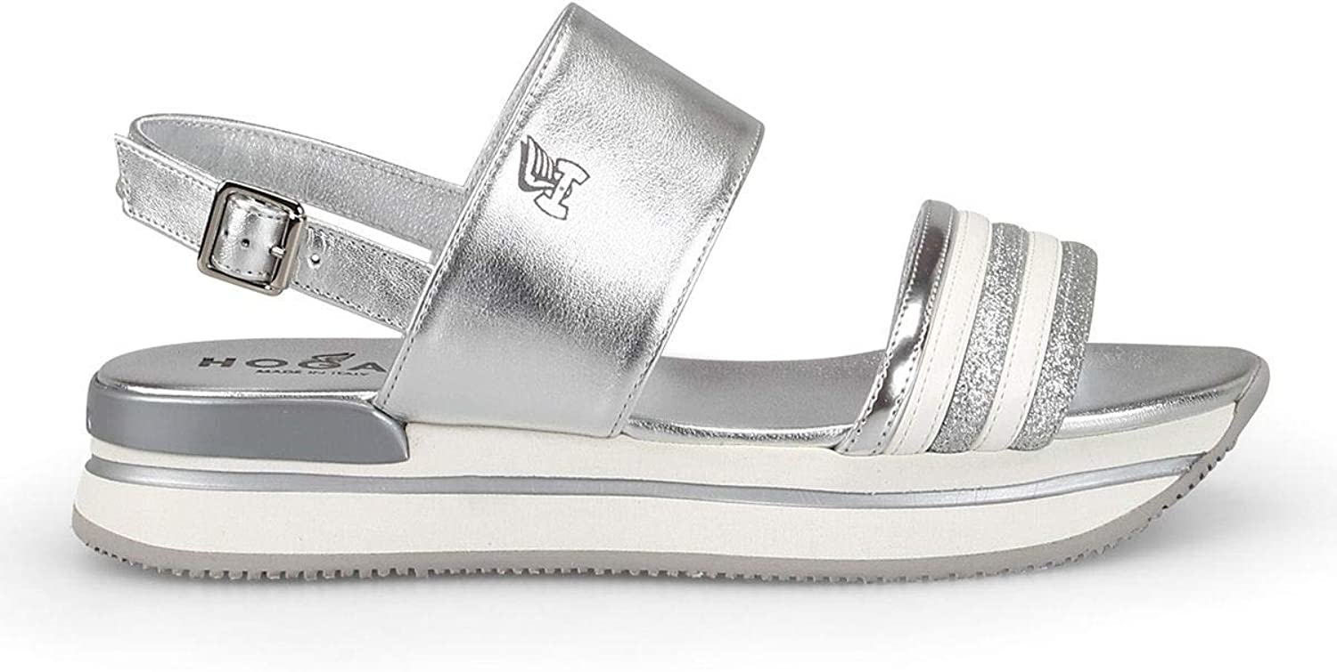 Hogan Women's HXW2570BK00SV0B200 Silver Leather Sandals