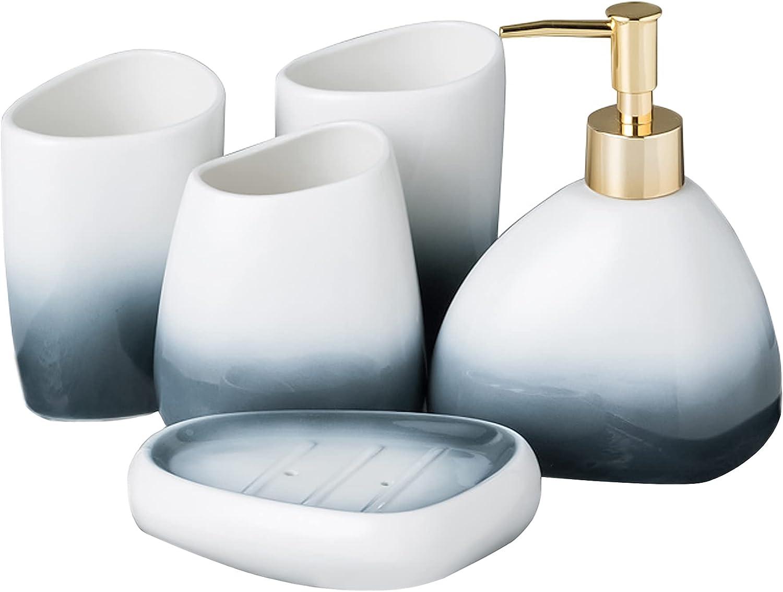 San Francisco Mall Bathroom Accessory Set 5 latest Piece Blue Gradient S Ceramic