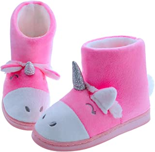 MIXIN Girls Cute Unicorn Bootie Slippers Plush Comfy Anti Slip House Shoes