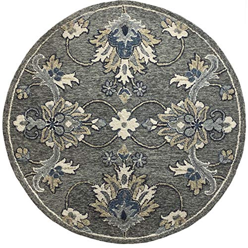 LR Home Traditional Gray Floral Jacobean Round Rug, 3' Round
