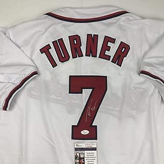 Autographed/Signed Trea Turner Washington White Baseball Jersey JSA COA