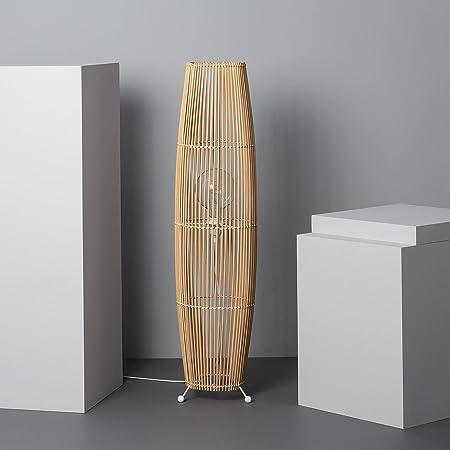 LEDKIA LIGHTING Lampadaire Komu 1000x250 mm Naturel E27 Bambou pour Décoration Salon, Chambre, Cuisine
