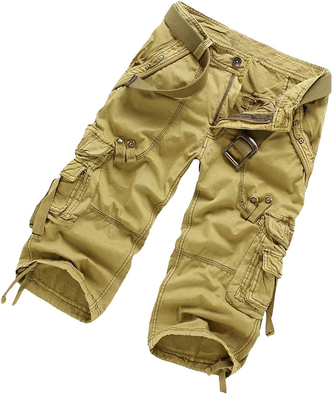 DEHANG Mens Casual Retro Cotton Solid MultiPocket Cargo Shorts Capri Pants Kahki Asian Size 34