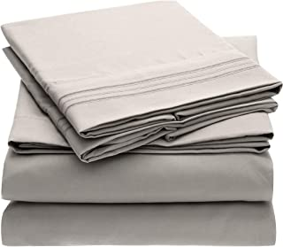 Mellanni Bed Sheet Set - Brushed Microfiber 1800 Bedding - Wrinkle, Fade, Stain Resistant - Hypoallergenic - 4 Piece (King, Light Gray)