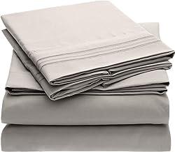 Mellanni Bed Sheet Set - Brushed Microfiber 1800 Bedding - Wrinkle, Fade, Stain Resistant - 5 Piece (Split King, Light Gray)