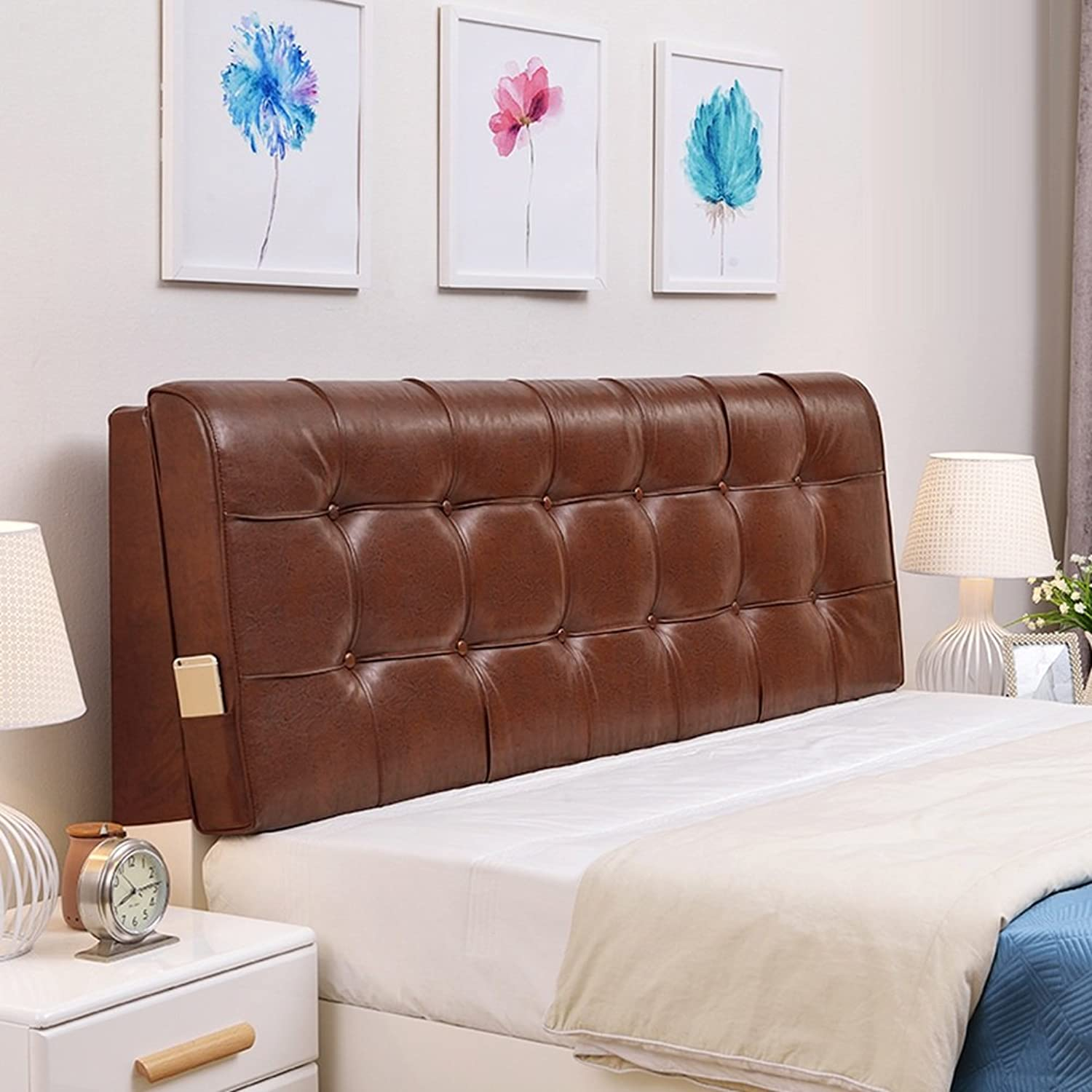 WENZHE Upholstered Fabric Headboard Bedside Cushion Pads Cover Bed Wedges Backrest Waist Pad Soft Case Bedside Multifunction, No Headboard, 7 colors, 8 Sizes (color   4 , Size   No headboard-120cm)