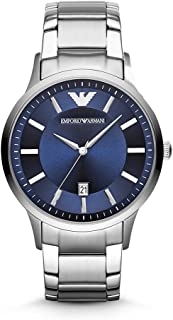 Emporio Armani Classic Men's Blue Dial Stainless Steel Band Watch - Ar2477, Blue Band, Analog Display