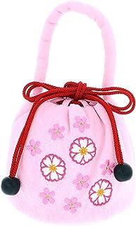 [ 京都きもの町 ] 七五三 巾着単品「ピンク お花の刺繍」桃の節句、ひな祭り