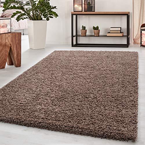Teppich Hochflor Teppich Dream Shaggy Teppich einfarbig Wohnzimmer Teppich, Farbe:Mocca, Maße:80 cm x 150 cm
