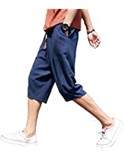 サルエルパンツ メンズ ズボン 袴パンツ ワイドパンツ サルエル ファッション 棉麻 七分丈 短パン ショートパンツ カジュアル 調整紐 ゆったり 通気性 大きいサイズ