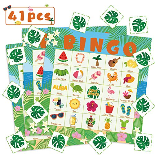 WATINC 41pcs Hawaiian Bingo Game, Tropical Summer Party Games with 24 Players, Hawaiian Bingo Cards for Kids School Classroom Party Supplies Activity, Luau Aloha Party Favors Gifts for Kids Toddlers