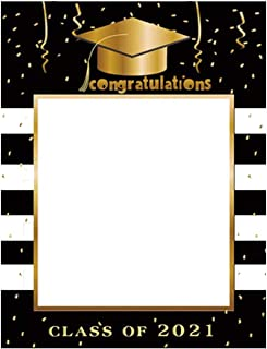 BinaryABC Graduation Photo Booth Picture Frame,Class of 2021 Photo Booth Props,Graduation Party Favors Supplies Decorations