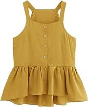 Verdusa Women's Casual Single Breasted Ruffle Hem Racerback Cami Top Shirt