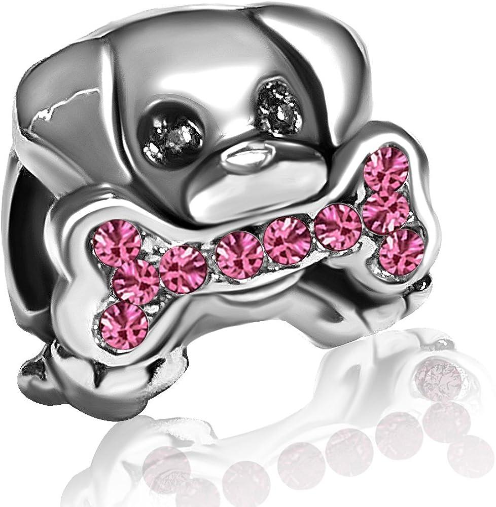JMQJewelry Dog Bone Paw Mom Mother Charm Birthstone Crystal Charms for Bracelets Mothers Day Women Girls Jewelry
