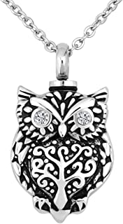 JewelryJo Love Heart Moon Star Owl Butterfly Pendants Urn Necklace Ashes Cremation Keepsake Memorial