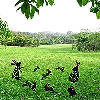 6pcs 人気 置物 ガーデニング雑貨 庭の装飾イースターバニーの像の彫刻樹脂動物の芸術工芸品ホームバルコニー庭の装飾の装飾品 誕生日プレゼント女性