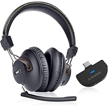 Avantree C519M 40 Hrs Wireless Gaming Headphones w/Bluetooth 5.0 USB C Audio Transmitter, Plug & Play, No Delay, Over-Ear Headset with Mic and Volume Control