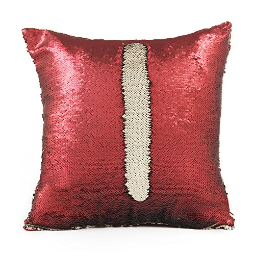 Elita Décor Mermaid Pillow Case, Magic Glitter Reversible Sequin Pillow Cover Throw Cushion Case 16'X16' (Fuschia Gold)