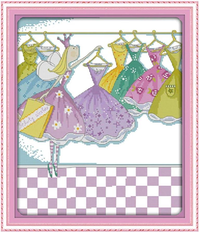 La pequeña princesa de la ropa nueva kit de punto de cruz 14ct 11ct lienzo de impresión bordado de costura DIY hecho a mano costura-11ct lienzo sin imprimir
